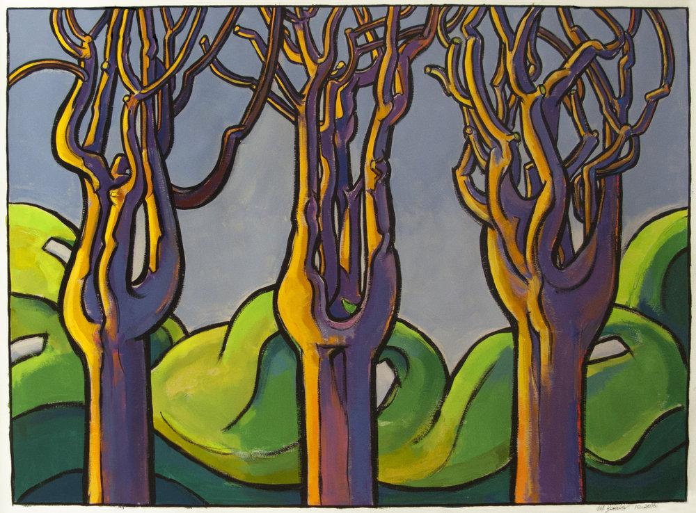 Three Trees , 34 x 47 inches, gouache, 2016