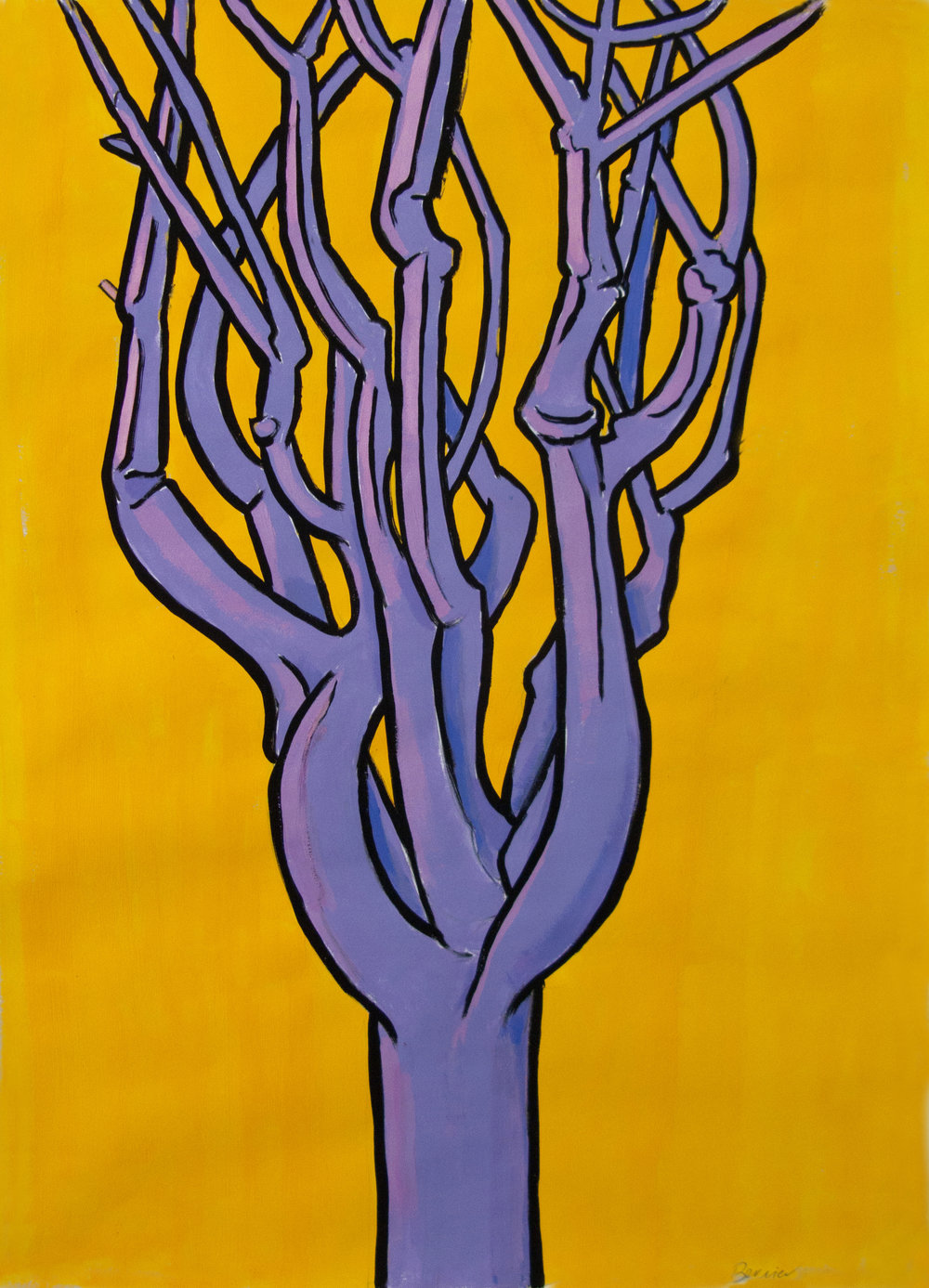 Purple Pine (Orange Background) , 24 x 19 inches, gouache, 2016