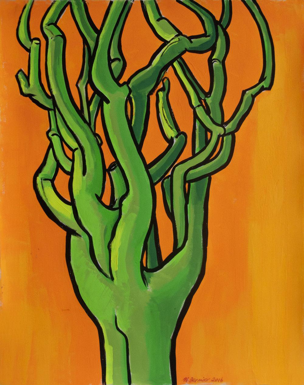 Green Pine (Orange Background) , 24 x 19 inches, gouache, 2016