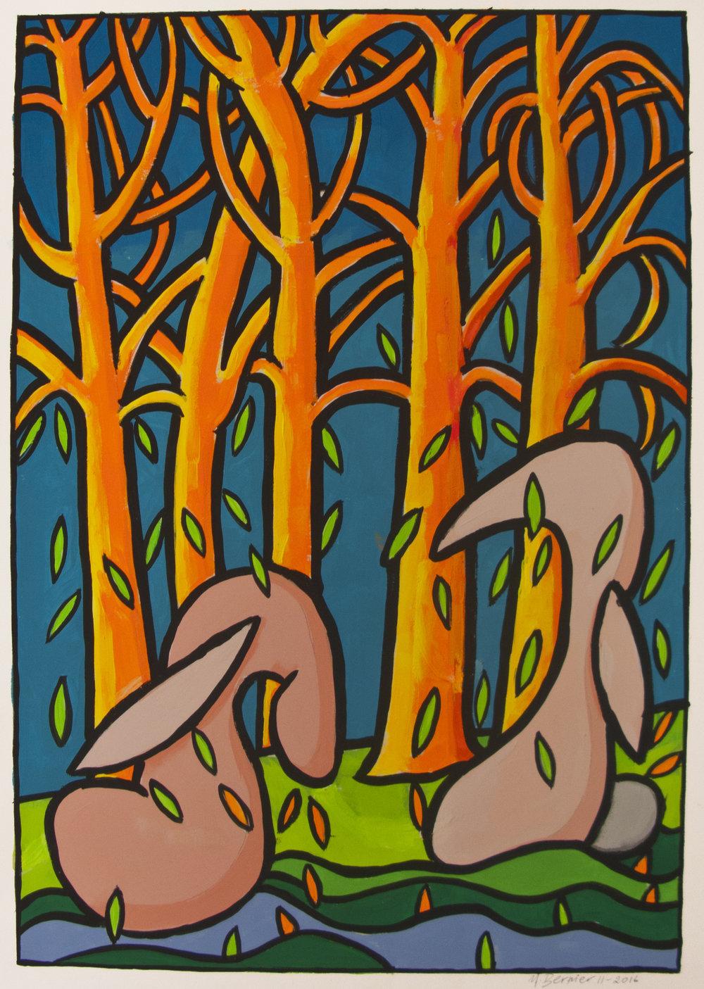 Falling Leaves I,  24 x 18,gouache, 2016