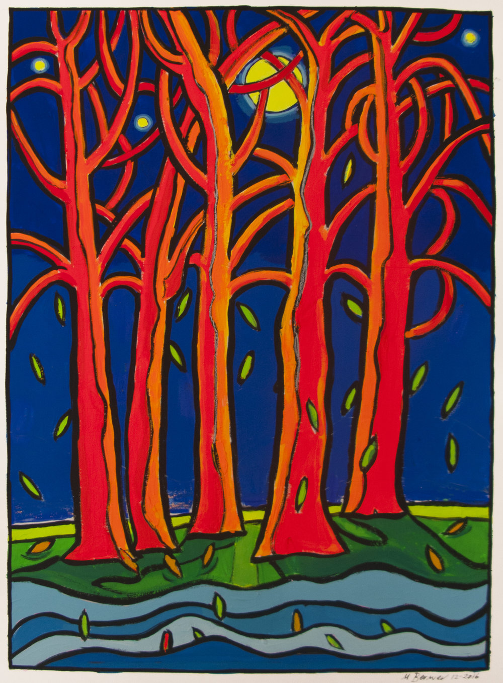 Falling Leaves III,  24 x 18,gouache, 2016