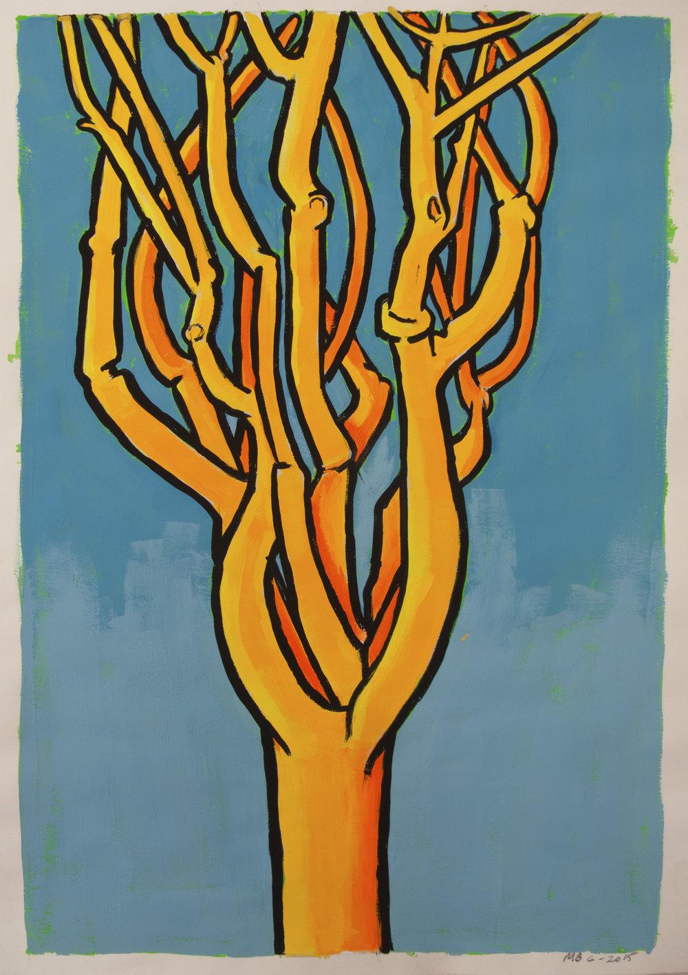 Orange Pine (Blue Sky) , 24 x 19 inches, gouache, 2016