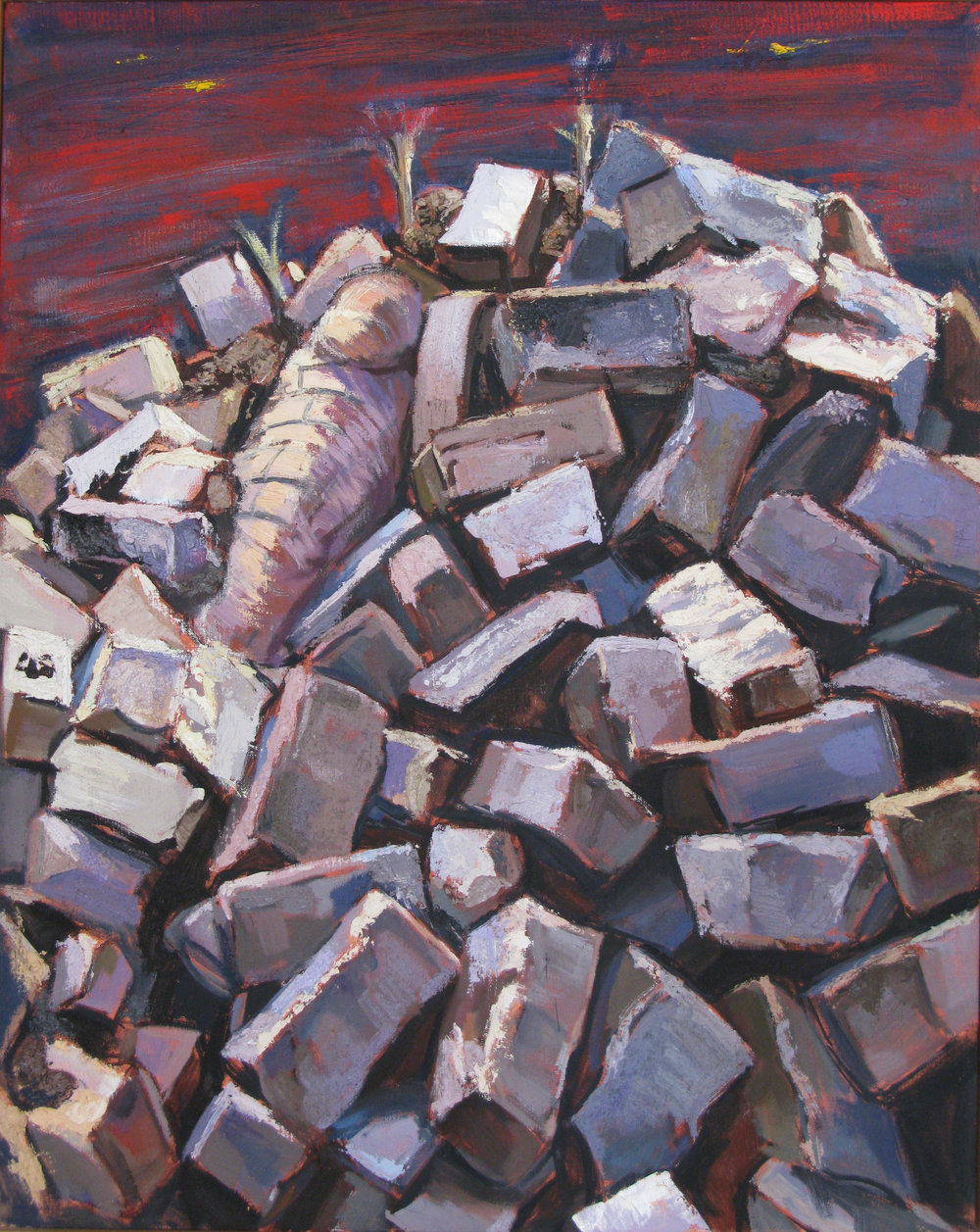 Brick Pile,  oil & sand on canvas, 18 x 24 inches, 2001