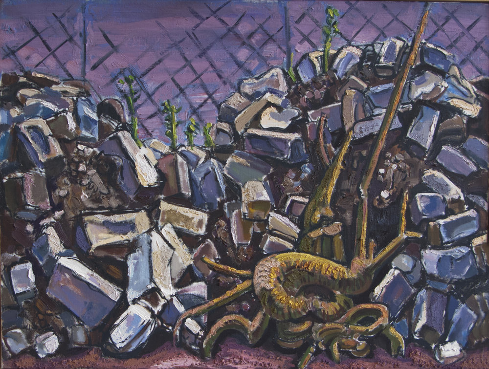 Brick Pile II,  oil & sand on canvas, 20 x 16 inches, 2002