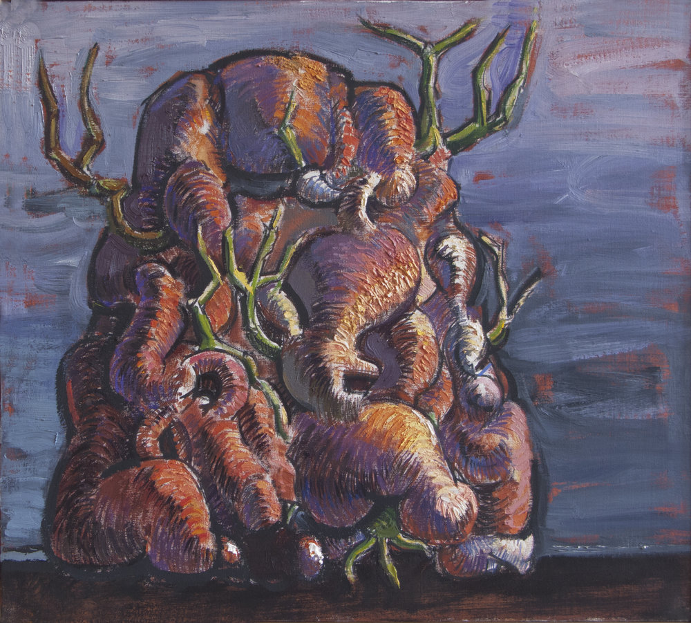 Sprouting Mound,  oil & sand on canvas, 16 x 18 inches, 2001