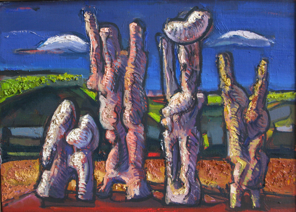 Group,  oil & sand on canvas, 10 x 14 inches, 2001