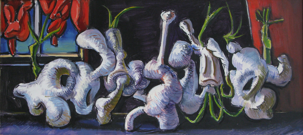 Sprouting White Forms,  oil on board, 16 x 18 inches, 2000