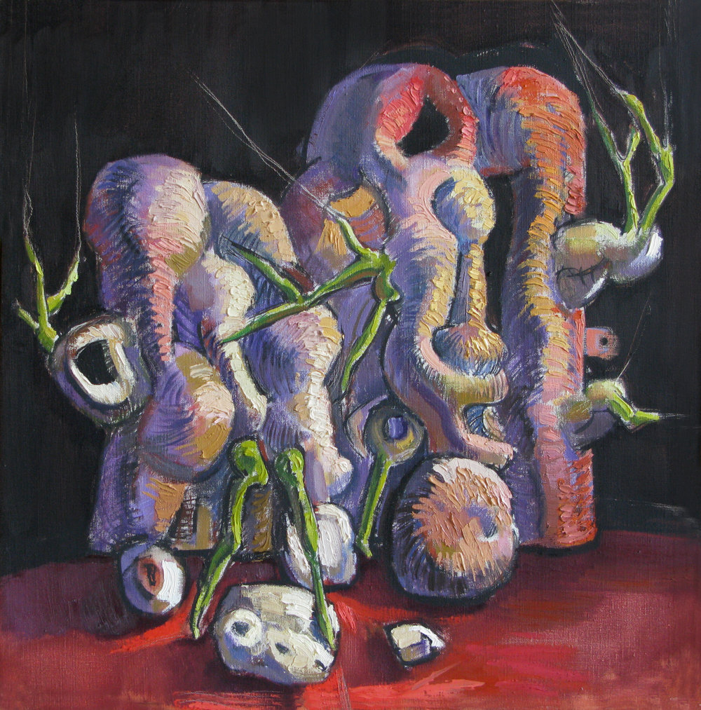 Sprouting Forms,  oil on canvas, 16 x 16 inches, 2002