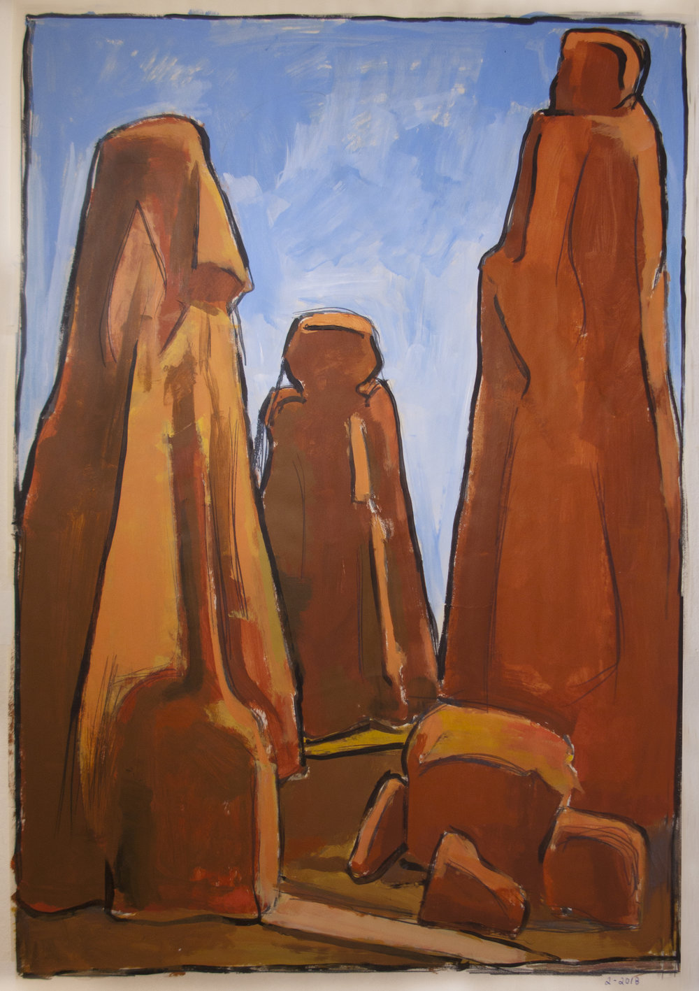 Tall Rocks,  acrylic on paper, 38 x 25 in., 2018