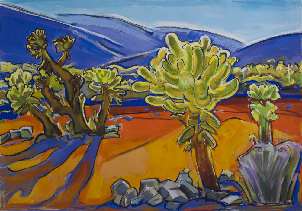 Cholla Cactii Landscape ( Joshua Tree National Park), gouache, 22 x 20 in., 2018