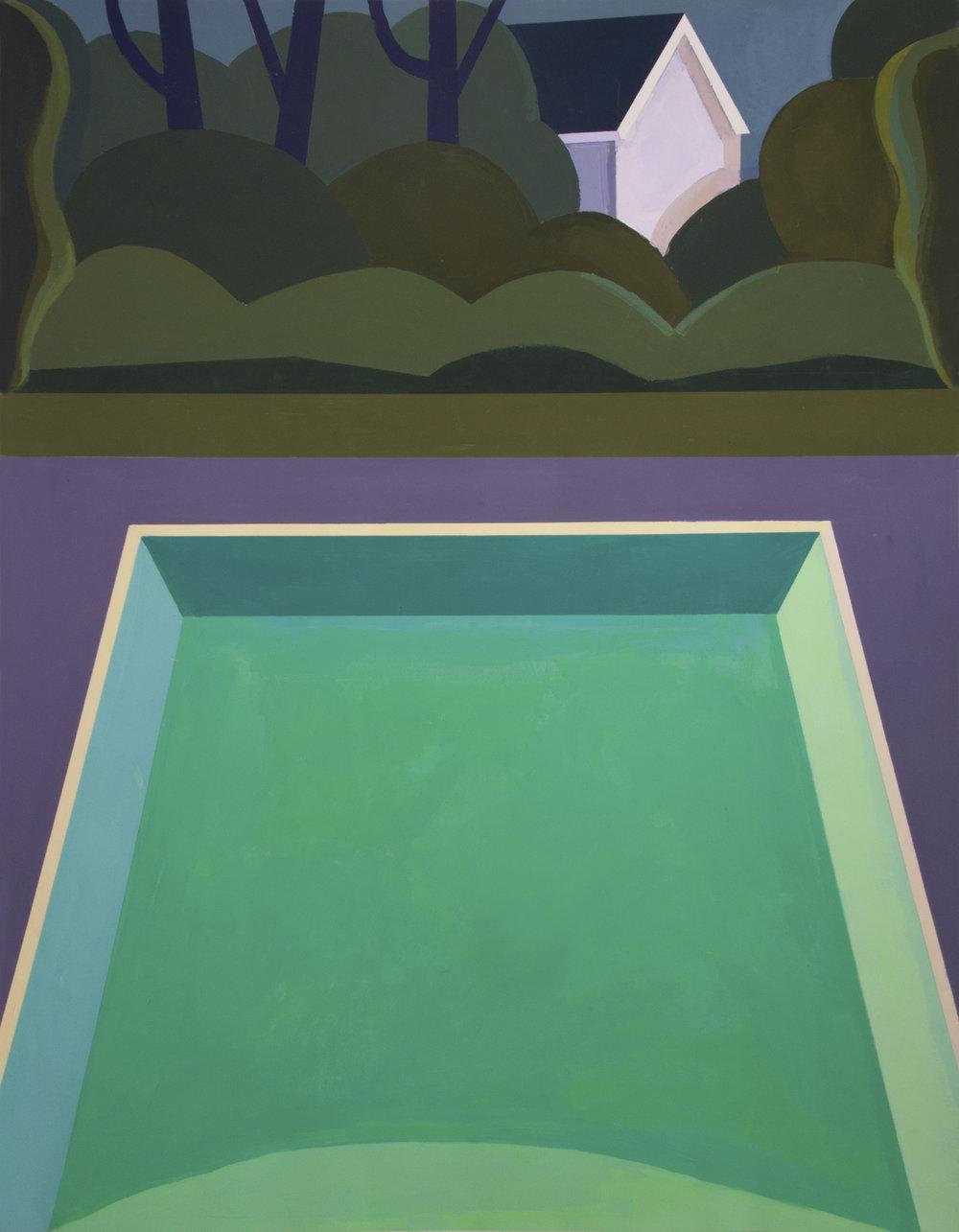 Night Pool VI,  gouache, 36 x 28 in., 2018