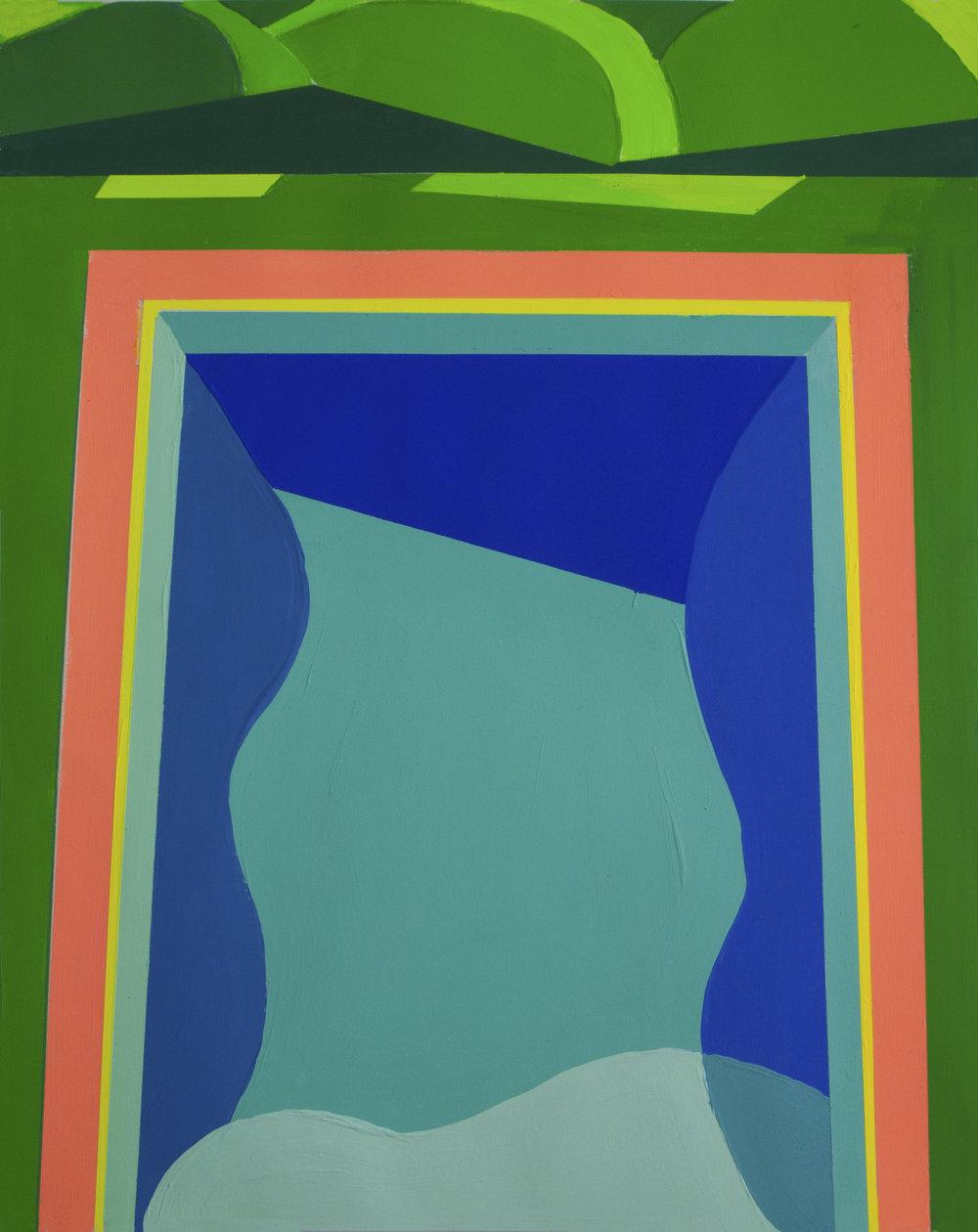 Pool Study II,  gouache, 17 x 14 in., 2018