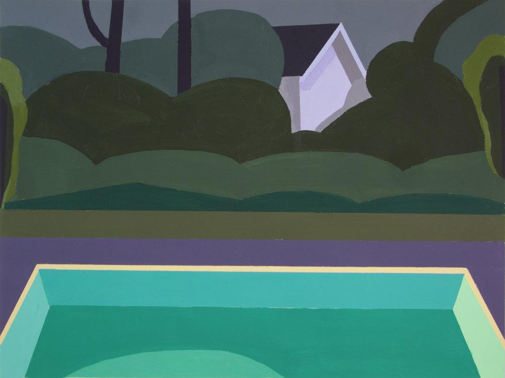 Night Pool III,  gouache, 14 x 17 in., 2018