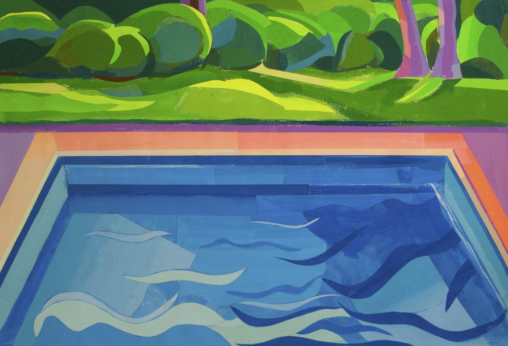 Connecticut Pool II,  gouache/cut paper, 30 x 42 in., 2018