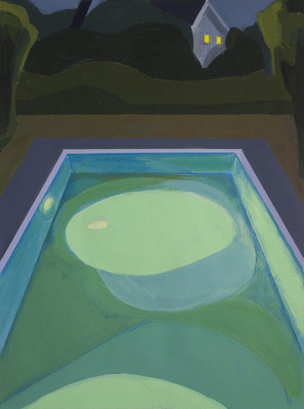 Night Pool I,  gouache, 17 x 14 in., 2018