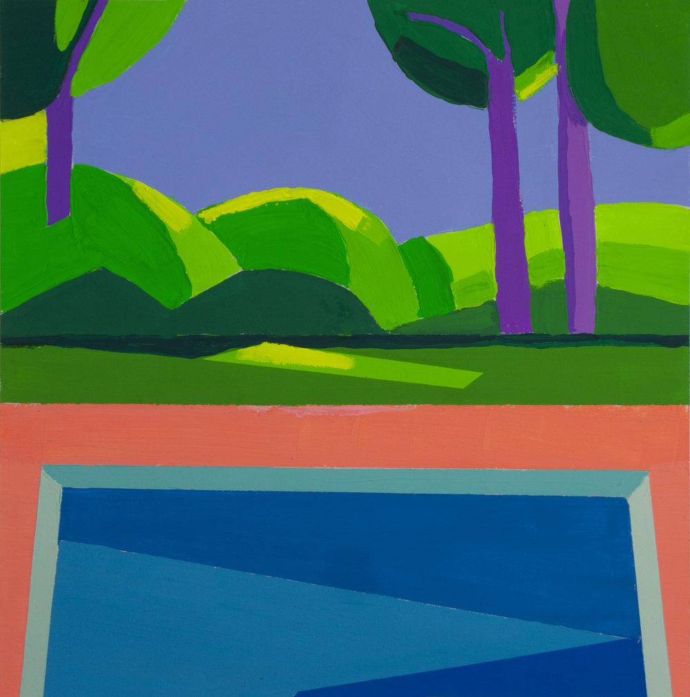 Pool Study IV,  gouache, 12 x 12 in., 2018