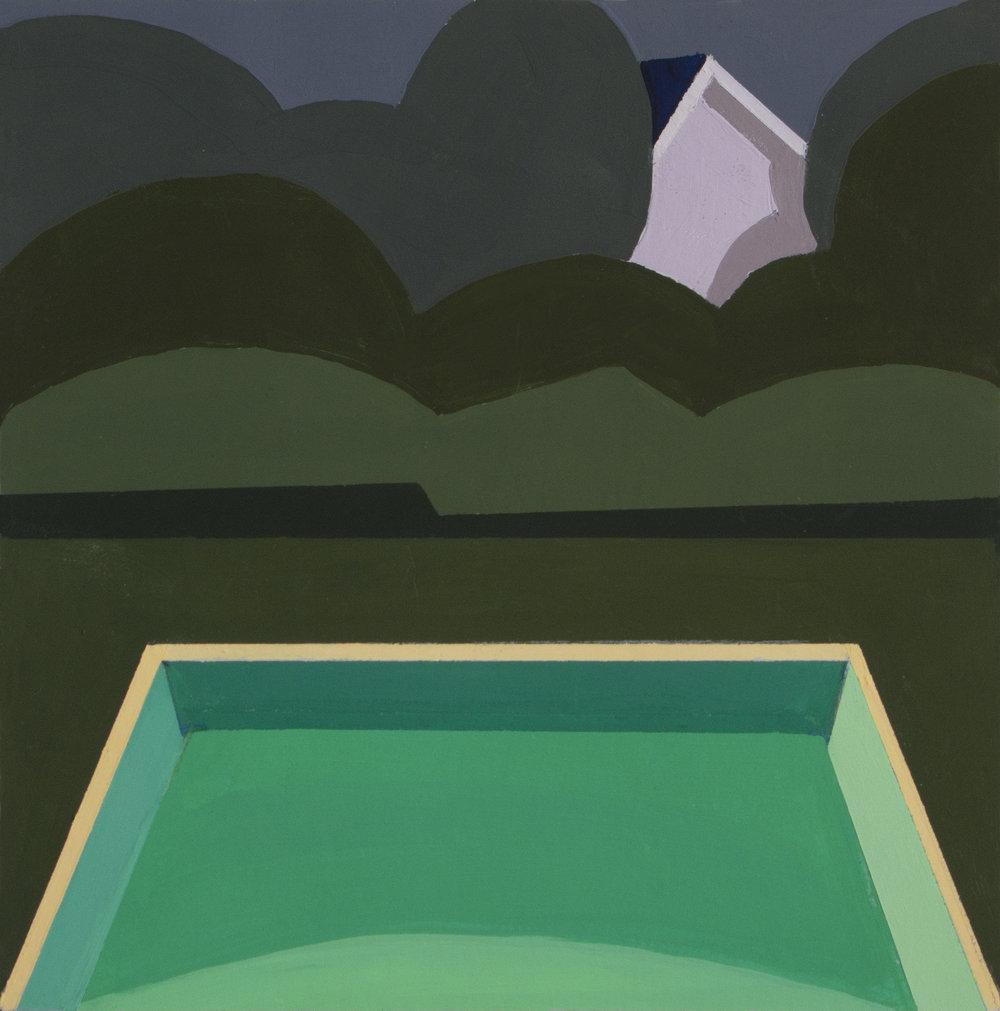 Night Pool Study,  gouache, 8 x8 in., 2018