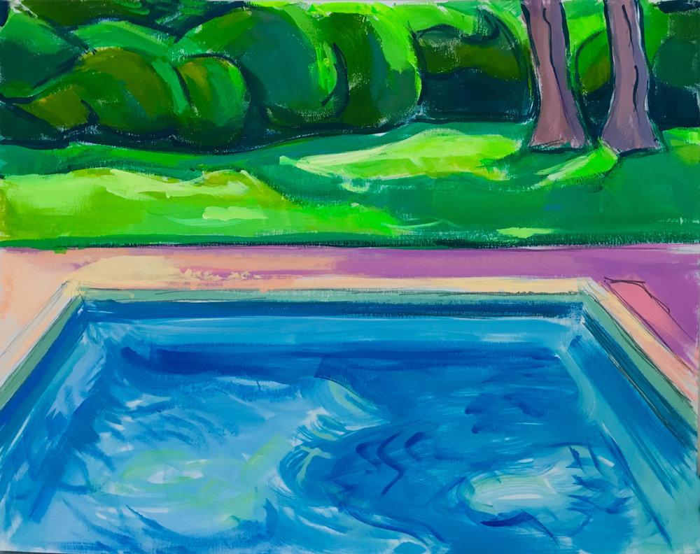 Pool Study III,  gouache, 11 x 14 in., 2017