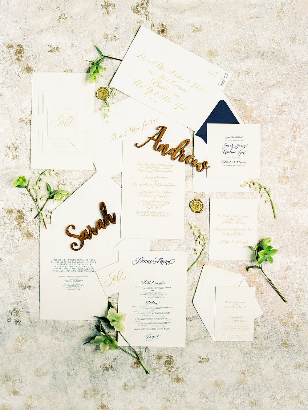 Custom Letterpress Invitation Suite Old Edwards Wedding