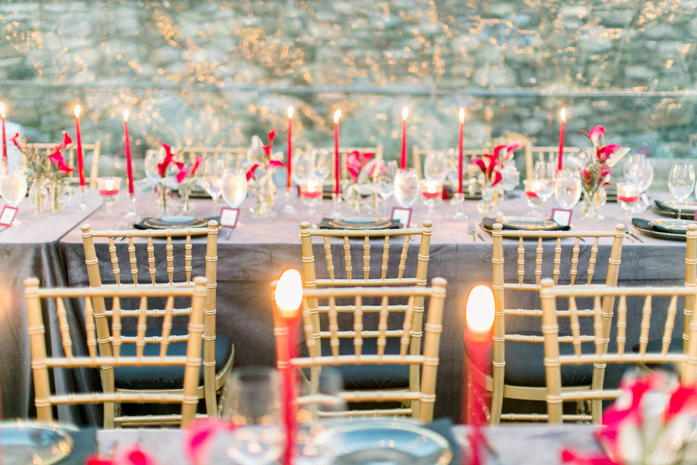 Rehearsal Dinner Tabletop with Taper Candles
