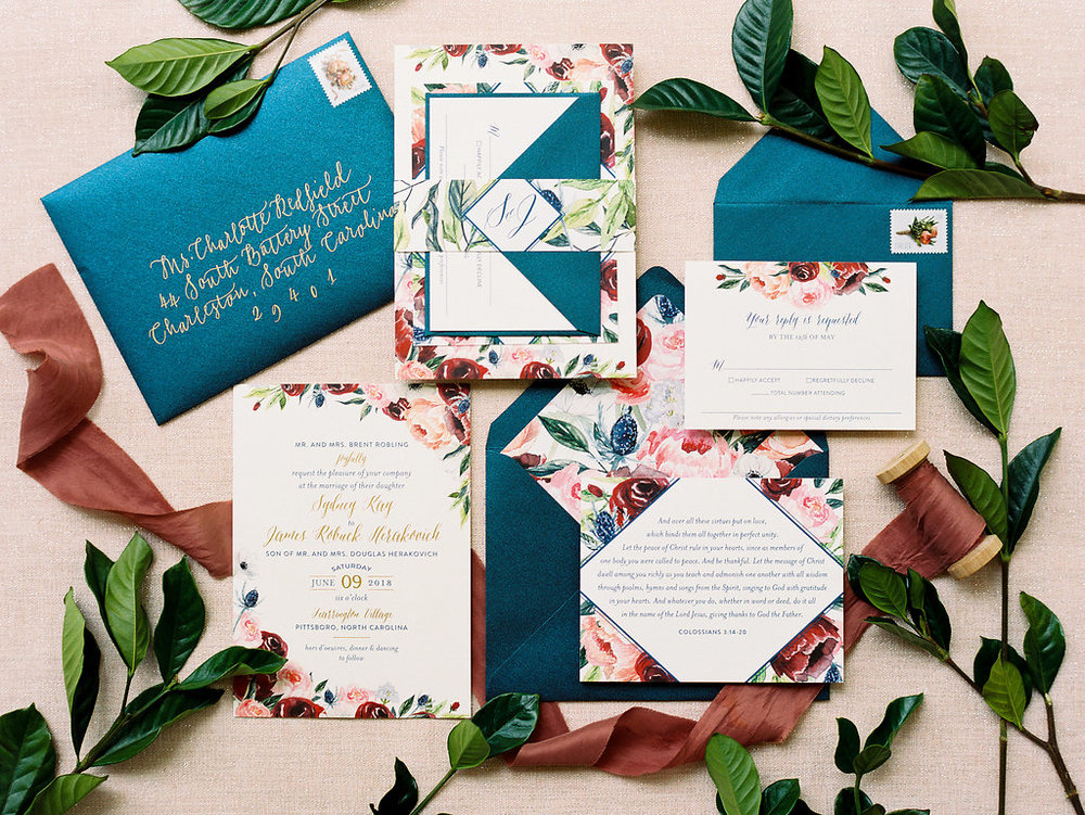 Custom Wedding Invitation Suite with Watercolor and Gold Foil