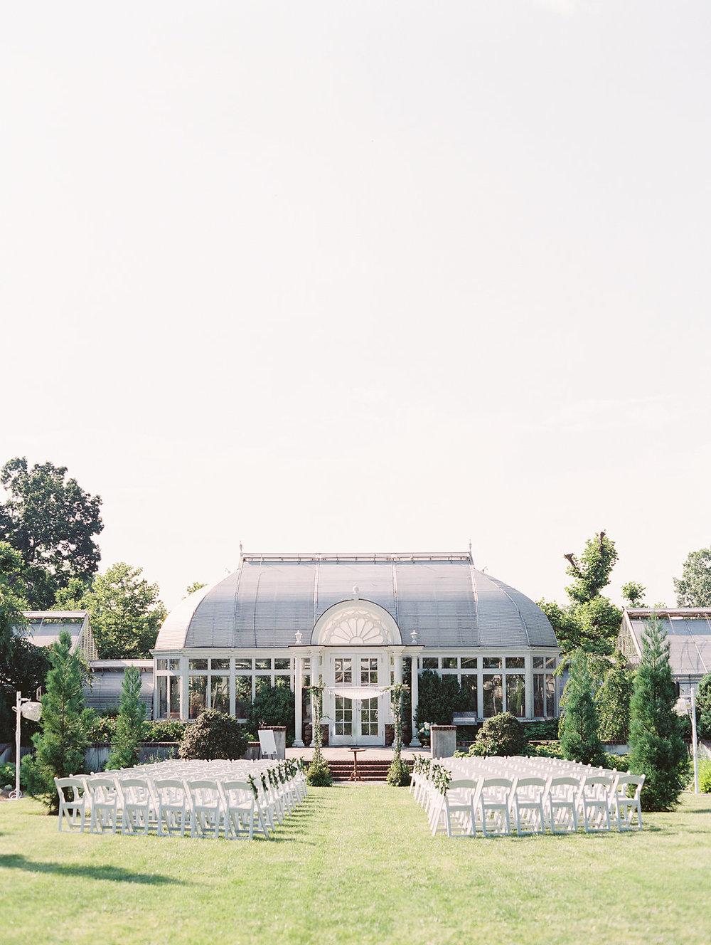 Reynolda Gardens all set up and ready for Ashley & Jeff's traditional Jewish ceremony |  Landon Jacob Photography
