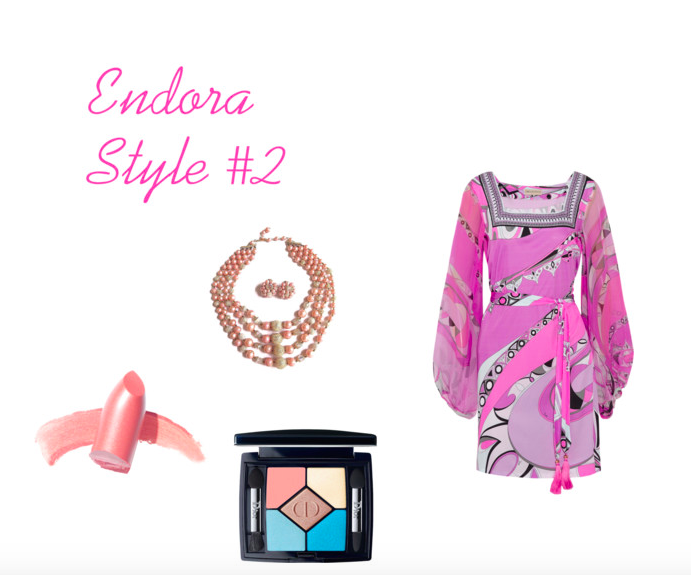 Images: Dress: The OutNet, necklace and earring set: ETsy, Eyeshadow: Dior, Lipstick: Elizabeth Arden