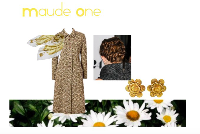 Images: Vintage Valentina Coat via 1stDibs, Hermes silk scarf via Tradesy, Chanel earrings via 1stDibs