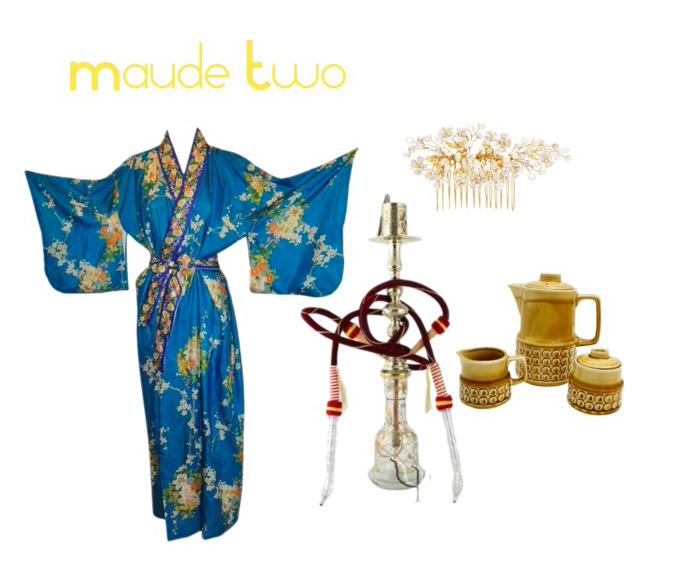 Images: Kimono via 1StDibs, Spring Bloom Pearl Comb via RentTheRunway, Turkish waster Pipe via Yurdan, Midcentury tea set via Chairish