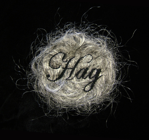 """Hag."" (detail) 2013, embroidery on human hair, velvet, convex glass, frame, 3 x 3"", 14 x 14"" framed. Image via Kate Kretz"