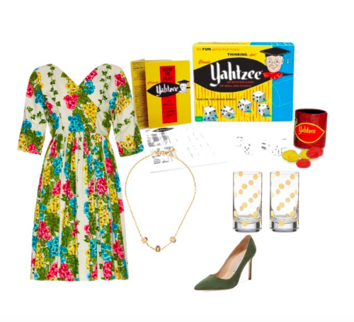 Images: Vintage Cotton Dress: 1stDibs, Pre-Owned Louis Vuitton 'Gamble' Necklace: theRealReal, Yahtzee!: Amazon, Kate Spade NY Highball Glasses: Lord and Taylor, Manolo Blahnik Pointed Toe Pump: Gilt