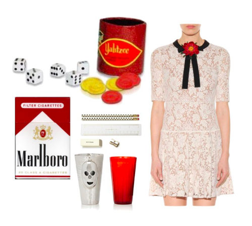 Images: Yahtzee!: Amazon, Marlboro Cigarettes: Pinterest, Thomas Fuchs Skull Cocktail Shaker: Barneys, Pencil Set: Nordstrom, Gucci embellished lace dress: MyTheresa