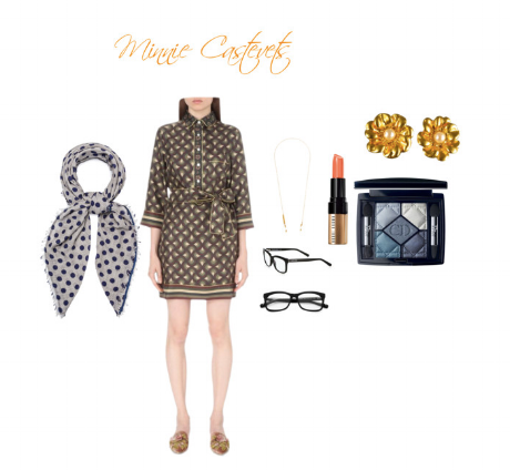 Images: Blue silk polka dot scarf: Navabi, Geometric silk shirt dress: Selfridges, Glasses chain: Liberty, Bobbi Brown reading glasses; SaksFithAvenue, Lipcolor in pink nude: Macy's, Eyeshadow palette: SaksFithAvenue, Vintage gold flower peal earrings: Snobswap