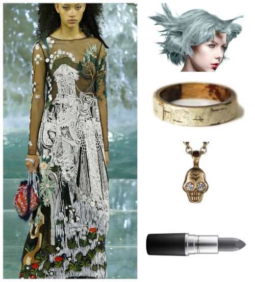 IMAGES: FENDI HAUTE COUTURE:    VOGUE   , MANIC PANIC BLUE STEEL:    AMAZON   , BIRCH-BARK AND RESIN BANGLE:  MODERN FLOWER CHILD , SKULL PENDANT IN YELLOW GOLD WITH DIAMOND EYES:  AUGUSTINA ,   MAC LIPSTICK IN HALSEY:   MAC COSMETICS