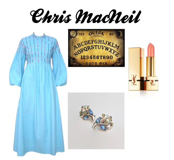 Images: Vintage Dress: 1stDibs, Lipstick: YSL, Vintage earrings: Etsy, Ouija Board: Pinterest