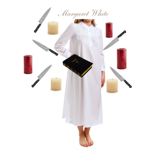 Images: Nightgown via  HerRoom , Knives via  Overstock.com , Red candles via  PierOne , White candles via  Sur La Table