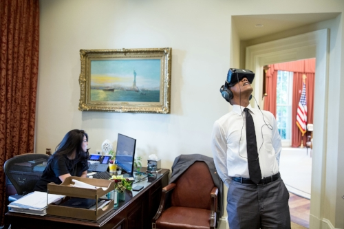 Here's an administrative assistant with an old person using technology.  / Image via  Whitehouse.gov