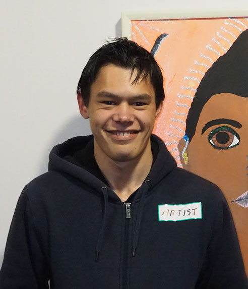 "student profile - Dorne KiniKo Horohoroi I nga ringaringa a Kahumatamomoe te MaungaKo Pokaitu te AwaKo Te Arawa te IwiKo Kearoa te MaraeKo Ngati Kea Ngati Tuara nga hapuDorne began attending C.S. Art regularly as a student at Aurora College in 2012. When he completed his high school education he secured a placement within our studio and has been attending ever since. His happy disposition and focused work ethic make him an ideal student in our busy studio. Dorne's creative interests are wide ranging and include a unique form of weaving in which the traditional techniques he learned alongside his mother at the Southern Institute of Technology's Kawai Raupapa course are put to good use. He is unique within our studio as he is our only weaver.His work in this exhibition is titled ""Tumanako Whakapono Aroha"" (translation –  hope faith love), in which 3 woven kete are side by side, having been made from laminated strips of colorful magazines. They seem to await being filled by their namesakes in their beautiful quiet capacity for storage.Dorne also has a huge talent for drawing, and often attends Southland Education's drawing class where he has produced some incredible pencil and ink illustrations. Such is the level of his enthusiasm, he often arrives at 11am, when the class begins at 12.30. It is a privilege for us that he feels comfortable enough to visit on these occasions and will sit drawing quietly waiting for the class to begin.He has also produced several various acrylic paintings which have been shown at the Southland Museum and Art Gallery as well as smaller shows at H & J Smith's Copper Kettle Café.Whanau is very important to Dorne and he is currently saving up to visit his older sister in the United Kingdom. He has another sister living in Invercargill who is mother to his niece. He often shares stories of his niece and his mum, proud of their many achievements in Tikanga Maori.Michelle Dawson, Co-Founder CS Arts"