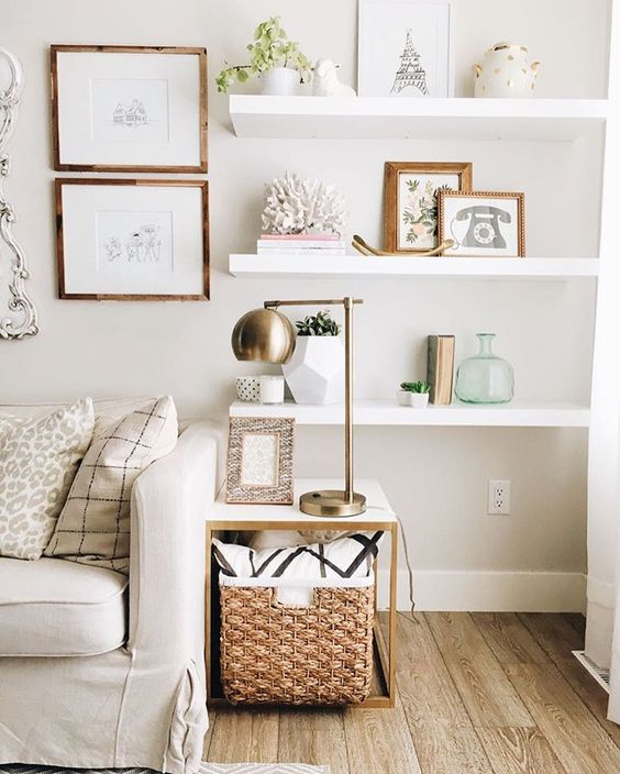 Floating shelves are especially great for small spaces to add display space.  Photo courtesy of Pinterest