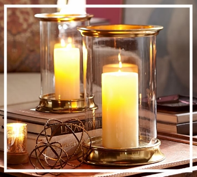 Add candlelight to any space  These 'Arlington Hurricanes' from Pottery Barn are a great way to do so - and add a metallic touch