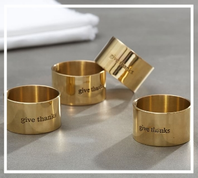 Add a whimsical touch to the dining table with these 'Give Thanks' napkin rings from Pottery Barn  Great fall decor and a reminder to be grateful!