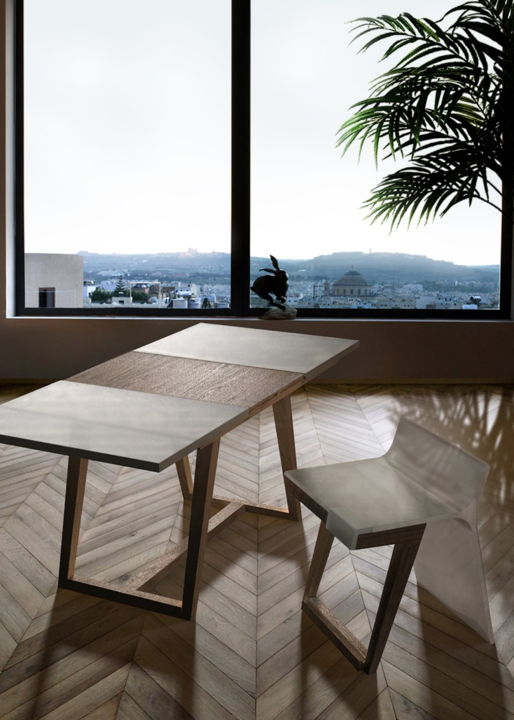 La seduta è composta da due elementi principali: la scocca in materiale plastico traslucido e le gambe in legno impiallacciato noce. La scocca, mediante un meccanismo di rotazione, può essere ribaltata permettendo alla seduta di assumere la sua seconda configurazione in poltroncina. Anche il tavolo può cambiare il suo aspetto tramite l'allungamento del piano superiore, realizzato nello stesso materiale traslucido della scocca, che scopre la struttura sottostante in legno.   The seat is made up of two main elements: the translucent plastic body and the wooden legs. The body can be overturned by a rotating mechanism to form the second setting of the seat. The table can be extended sliding its top that shows   the wooden structure below.