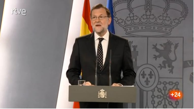 "Interim President Mariano Rajoy threatening legal action for any ""illegal acts"" of the Catalan Parliament."