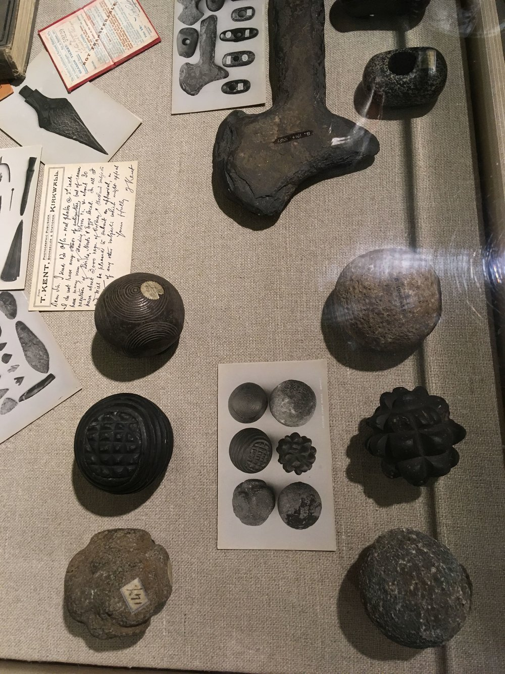 Carved stone balls in the Kirkwall City Museum.