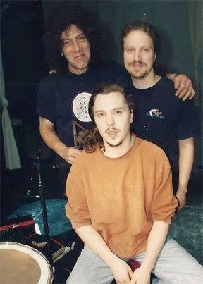 """Chis 'Sunshine"""" Slemmer, Jim Donovan, Jim DiSpirito 1996 Modern Drummer shoot"""