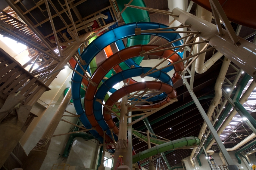 "That's a long way up! The dual 4 story high enclosed tubes and ""Alberta Falls"" Who's going first? Photo Credit: Great Wolf Lodge"