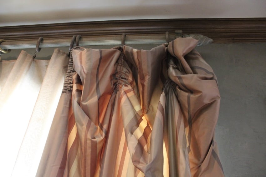 Simple stripe silk taffeta panels  paired with a bronze sheers.