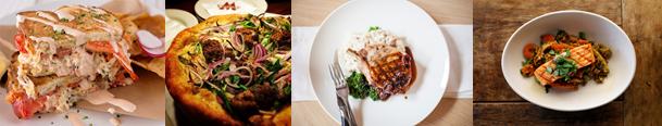 From left to right: Slapfish; Pizzeria Mozza; Oak Grill; True Food Kitchen