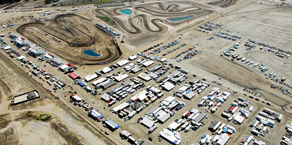 Overhead view of the pits and the 1.5 mile track.