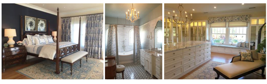 Master Bedroom, Her Bath and the Dressing Room  Photo Credit: Ederra Design Studio